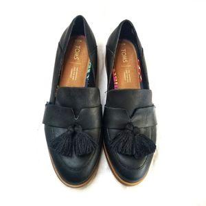 Toms Estel Black Leather Tassel Loafers 7.5